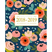 2018-2019 Academic Planner Weekly And Monthly: Calendar Schedule Organizer and Journal Notebook With Inspirational Quotes And Navy Floral Lettering Cover (August 2018 through July 2019)