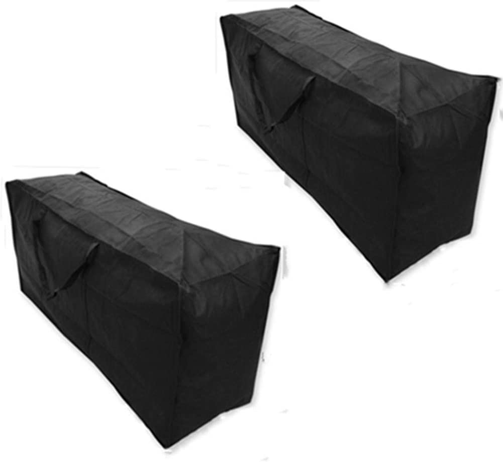 2 Pack Patio Cushion Storage Bag Waterproof Cushion Cover Outdoor Furniture Cushion Bag Rectangle with Zipper and Handles Durable Protective, 68x30x20 Inches, Black (2 Pack Black)