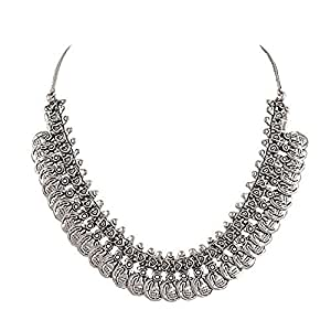 Sansar India Oxidized Silver Plated Coins Choker Necklace For Women