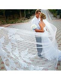 Single Layer Wedding Veil Lianshi Bridal Veil Lace Embroidery Bride Supplies 3m (White)