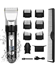 Hokongley Hair Clippers for Men Professional Cord Cordless Hair Trimmer Rechargeable Mens Haircut Grooming Set with LED Display and 6 Guide Combs