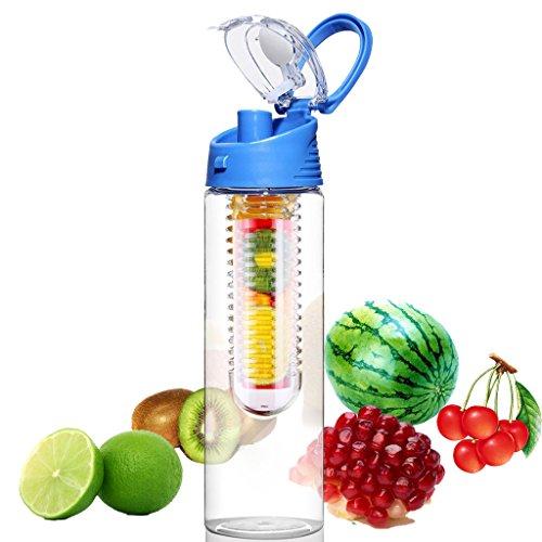 JET-BOND Fruit Infuser Water Bottle (28oz) BPA-free Sport Tritan Cup Health Kettle Leak Proof Flip Top Lid with Drinking Spout, Recipe eBook for Free Gift (Blue)