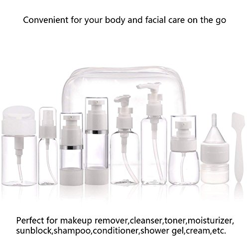 SOIBEA Travel Containers for toiletries - TSA Approved Air travel size Bottles and jars Set 12 Pcs Toiletries Liquid Containers for Cosmetic Makeup with 1 toiletry Bag