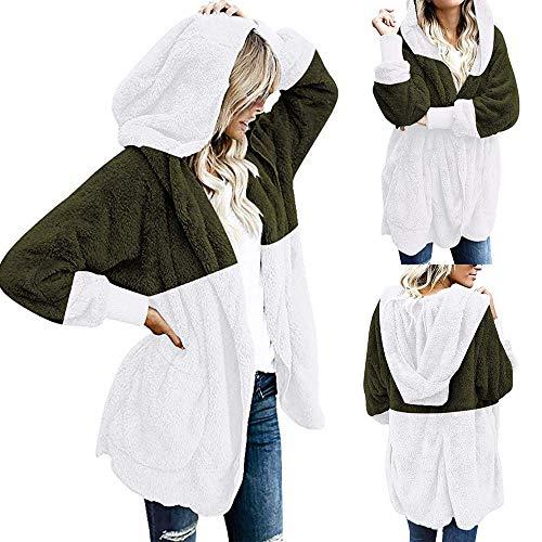 Tamaño Cálido Bolsillos Green Gran Invierno Cardigan Abrigo Con Patchwork Army Cubiertos Mujer Frente De Suave Capucha Las Coat Abierta Damas Mujeres Moda Elegante zxxqYTBwX