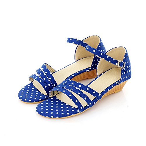Materiale Wedge Voguezone009 Heel Pu Womens Open Sandali Morbido Blu Solidi Toe Low 0nA4Sp