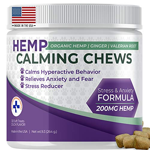 Dog Calming Treats with Hemp Oil Organic Natural Dog Treats Made In The USA Formulated For Composure & Dog Anxiety Relief From Stress Fireworks Thunder Separation - With Ginger & Omega 3 -120 Chews