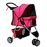 Peach Tree Three Wheel Pet Stroller, for Cat, Dog and More, Foldable Carrier Strolling Cart (Rose red)
