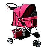 Kinbor Pet Stroller Cat Dog Cage 3 Wheels Stroller Travel Folding Carrier (rose red)