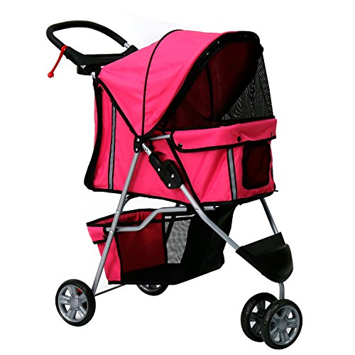 Peach Tree Three Wheel Pet Stroller, for Cat, Dog and More, Foldable Carrier Strolling Cart (Rose red) Review