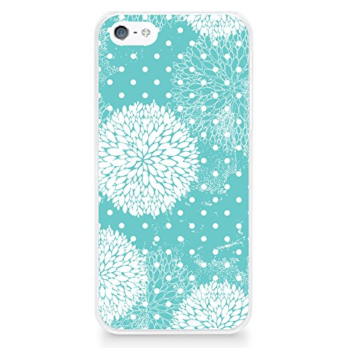 CasesByLorraine Case for iPhone SE, iPhone 5/5s, Turquoise Floral Pattern Case Plastic Hard Cover for iPhone SE & iPhone 5/5s (P13)