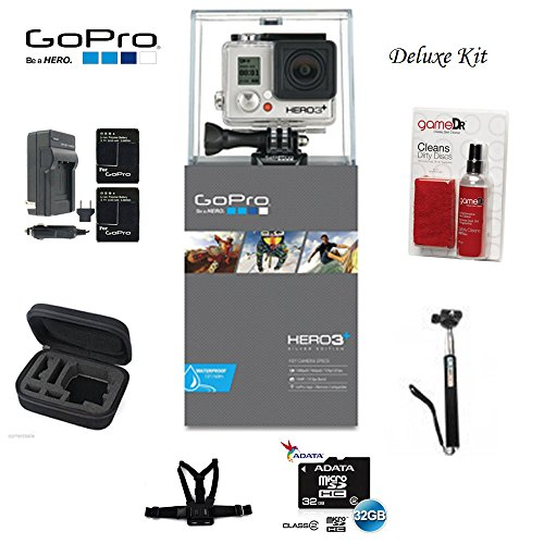 Gopro Hero3+ Silver Edition Camera -Chdhn-302-kit- Starter Kit Includes, 32gb Micro Sd, Cleaning Kit, Battery, Battery Charger, Chest Mount, Carry Case and Monpod by best online service