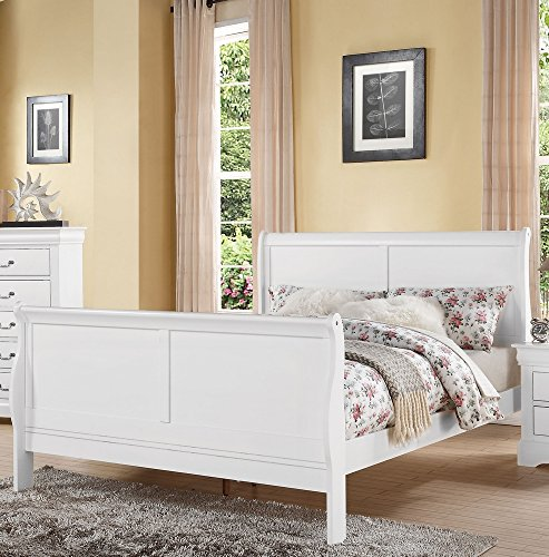 ACME Furniture 24500Q Louis Philippe III Bed, Queen, White (Furniture Mobilia Bedroom Sets)