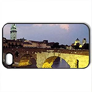 light on old bridge in italy - Case Cover for iPhone 4 and 4s (Bridges Series, Watercolor style, Black)