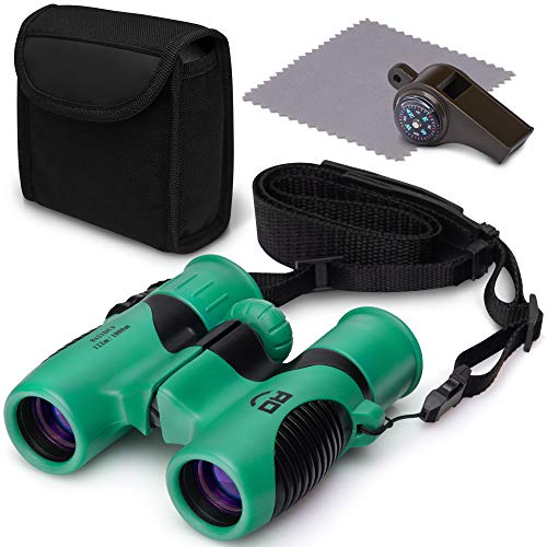 Kids Games Binoculars Toy Set for Boys & Girls, Outdoor Camping Binocular, Spy Hiking Kit for Children, Waterproof & Shockproof Compact Whistle With Compass and Thermometer, Leather Insert Neck Strap ()