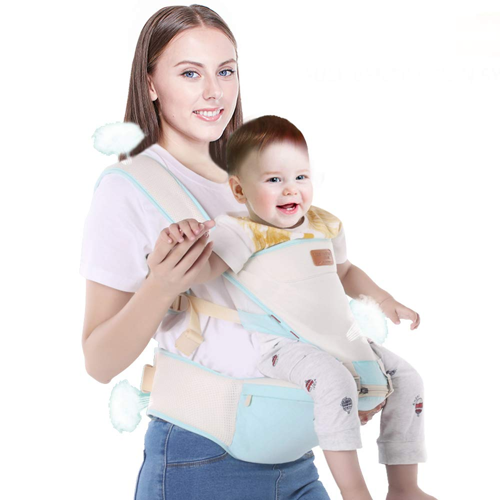 JooBebe 360 ° Premium Hipseat Porte-bébé/Baby Carrier,Respirable,Ergonomique, Sac Maman,Confortable et Apaisante pour Bébés, Adapté à la Croissance de Votre Enfan (Bleu) WEFLAIR