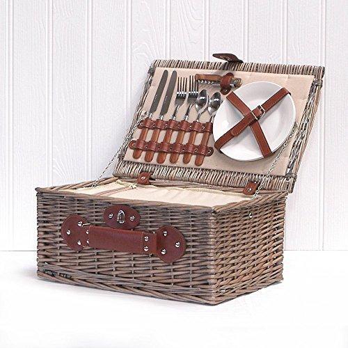 Picknickkorb für 2 Personen, cremefarbenes Innenfutter, mit integriertem Kühlfach und Zubehör