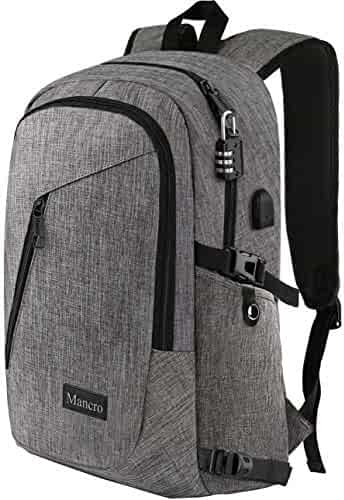 Laptop Backpack, Business Anti Theft Travel Computer Bag for Women and Men, Slim Water Resistant College School Bookbag with USB Charging Port Fits UNDER 17 In Laptop & Notebook by Mancro (Grey)