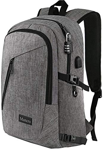 "Laptop Backpack, Travel Computer Bag for Women & Men, Anti Theft Water Resistant College School Bookbag, Slim Business Backpack w/USB Charging Port Fits Under 17"" Laptop & Notebook by Mancro (Grey)"