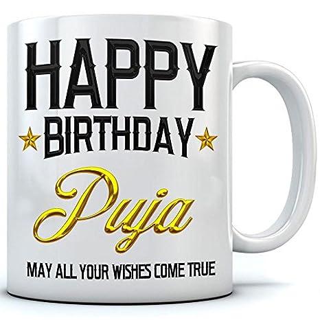 Buy Happy Birthday Puja Name Printed Ceramic Coffee Mug 350 Ml