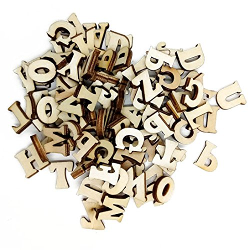 Alphabet Buttons (Colorido 100 Pcs Alphabet Numbers Wood Button DIY Craft Sewing Scrapbooking size Letters (Wood Color))