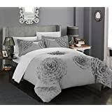 Chic Home 3 Piece Birdy Floral and Rose Pleated Etched Applique Duvet Cover Set, King, Silver