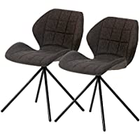 New Pacific Direct Tilda Fabric Swivel Chair,Black Legs,Web Gray,Set of 2