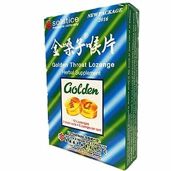 Golden Throat Lozenge Cough Drops (Jinsangzi Houpian) - 12 Lozenges (pack of 3)
