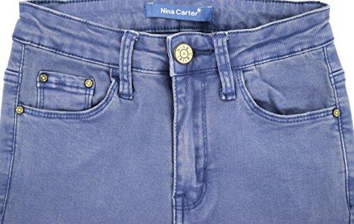 skinny slim a vaqueros 34 rodillas Azul Mujer pantalones destroy las en rotos talla Jeans 42 5Eqpd