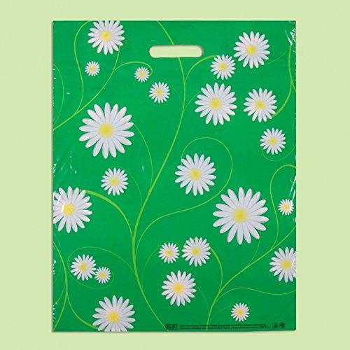 Confezione da 50 Eco Green daisy-printed/shopping/sacchetti regalo di plastica 40 x 50 cm EXTRAPACK