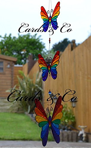 Hunky Dory Gifts Stained Glass Rainbow String Of Butterfly Hanging Sun Catcher Window Decoration