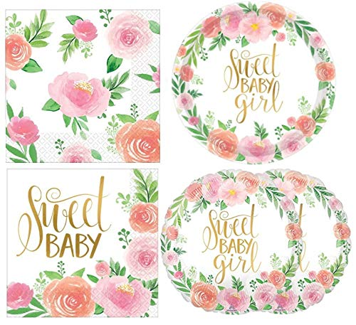Baby Girl Shower Floral Party Supplies Kit: Plates, Napkins and Balloons - Pink and Peach Floral ()