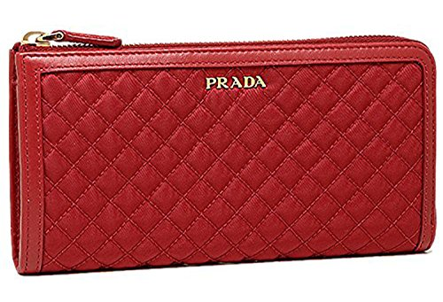 Prada Red Quilted Leather and Nylon Zip Around Wallet 1M1183