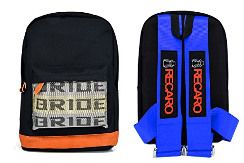- New Bride Racing Backpack with RECARO Power Racing Harness Shoulder Straps Blue