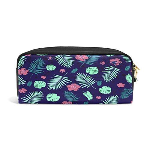 Bleistift Fall, Palm Leaf Floral rinted Reise Make-up Pouch Large Wasserdicht Leder 2Fächer für Mädchen Jungen Damen Herren