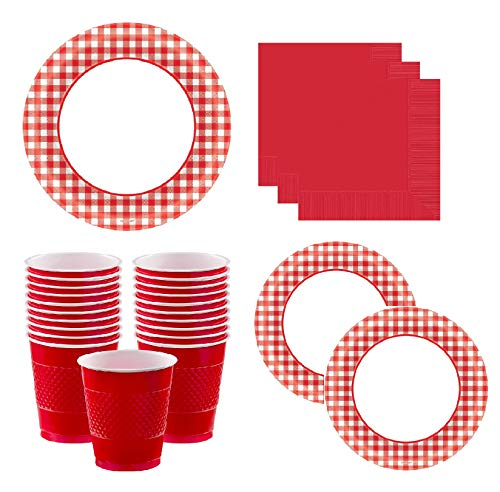 Gingham Party Supplies Pack for 40 Guests Deluxe: Extra Large Red Gingham Plates, Small Plates, Napkins & Cups