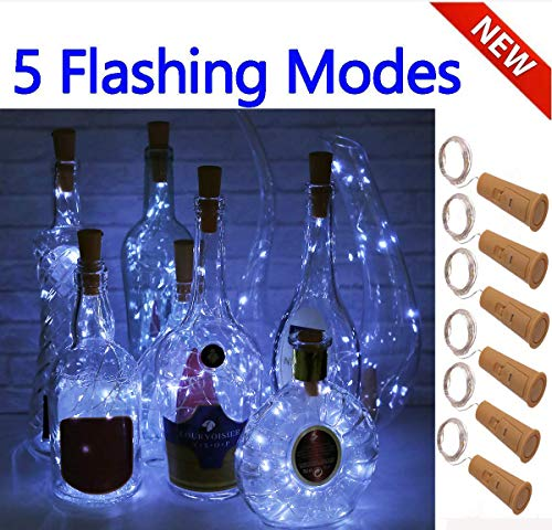 (SFUN Wine Bottle Lights with Cork- 5 Dimmable Modes with Timer 6 Pack Battery Operated LED Silver Copper Wire Fairy String Lights for DIY, Party, Decor,Wedding )