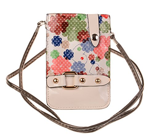 Nine States PU Leather Gel Cross Body Floral Pritning Phone Bag/Pouch for Apple iPhone Samsung and Other Mobile Phone with Magnetic Button + One Nine States Logo Pouch White