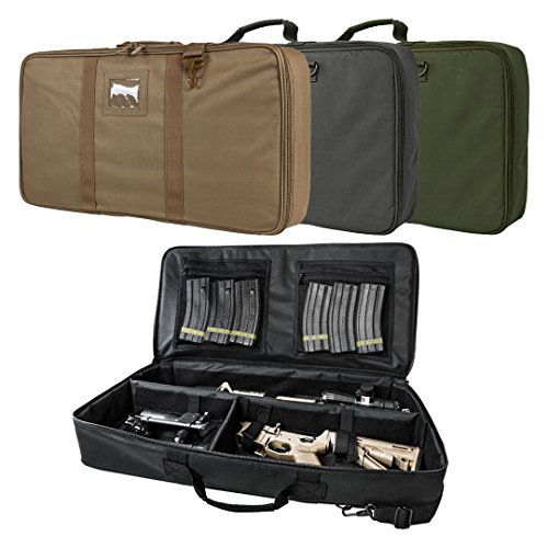 Tactical Padded Discreet Carbine Rifle Case Takedown Broken Down Upper & Lower Storage 26.0 L X 13.0 W X 3.0 T (Black)