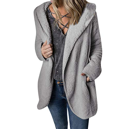 - Gorgeous Women Coat KIKOY Winter Warm Outerwear Hoodie Faux Fleece Coat Outwear Gray