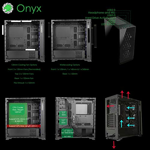 Game Max Onyx Rgb Mid Tower Atx Pc Case With 3 X Rgb Fan