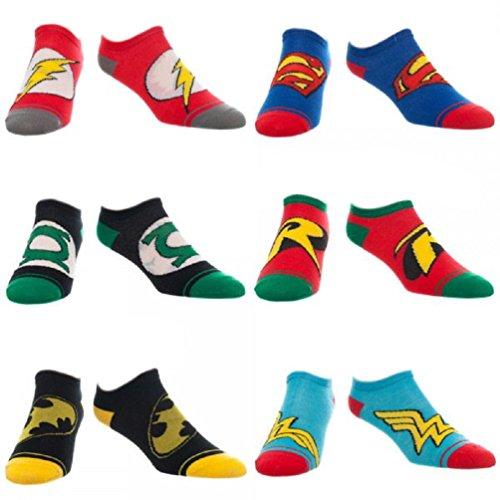 DC Comics Adult No Show Ankle Socks 6 Pair