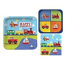 Transportation Child Birthday On The Go 16 Guest Party: 3 Part Bundle - Dinner Plates, Dessert Plates & Napkins