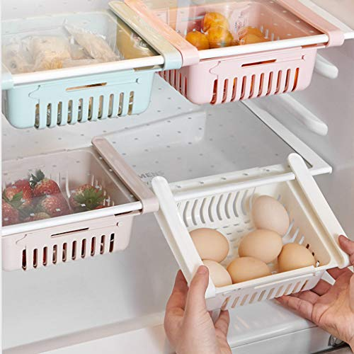 - Wffo 1Pcs New Kitchen Article Storage Shelf Refrigerator Drawer Shelf Plate Layer,4 Colors Optional (Pink)