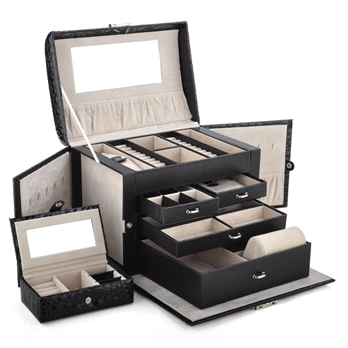 Amazoncom Aspire Huge Leather Jewelry Box Jewelry Holder