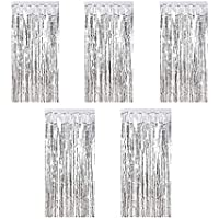 Kioneer Metallic Tinsel Curtains Silver 5 Packs 3 ft x 10 ft Foil Fringe Curtains for Photo Backdrop Door Wall Hanging…
