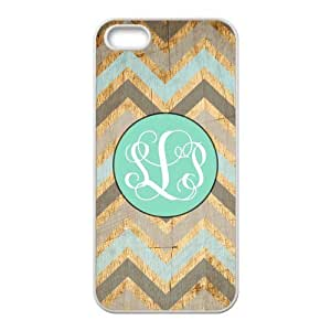 Monogrammed Vintage Wood Chevron &Light Mint Circle For IPhone 5/5S Best Rubber+Plastic White Cover Case