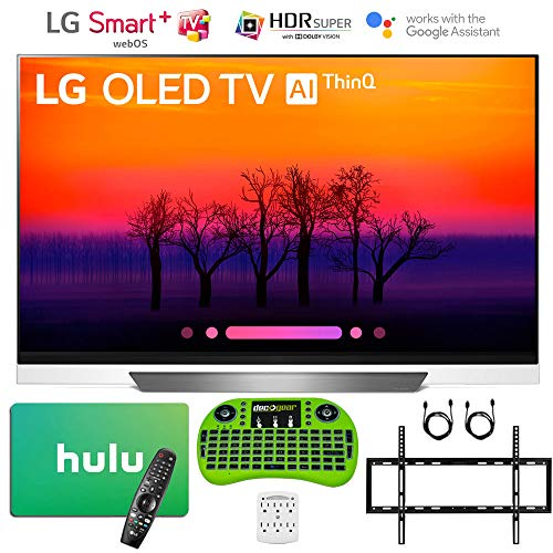 LG 55″ E8 OLED 4K HDR AI Smart TV (2018 Model) with Bonus Hulu $100 Gift Card + Wall Mount Kit and More – OLED55E8