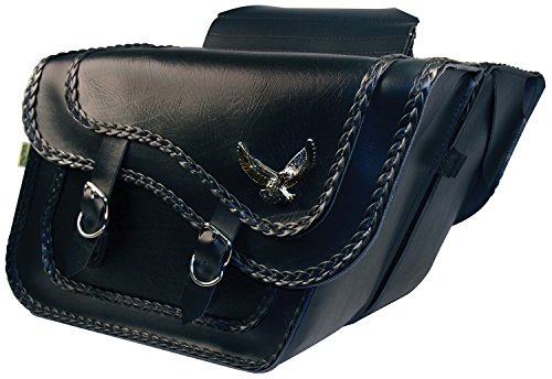 - Dowco Willie & Max 58736-20 Black Magic Series: Synthetic Leather Large Slant Motorcycle Saddlebag Set, Black, Universal Fit, 19 Liter Each/38 Liter Total Capacity