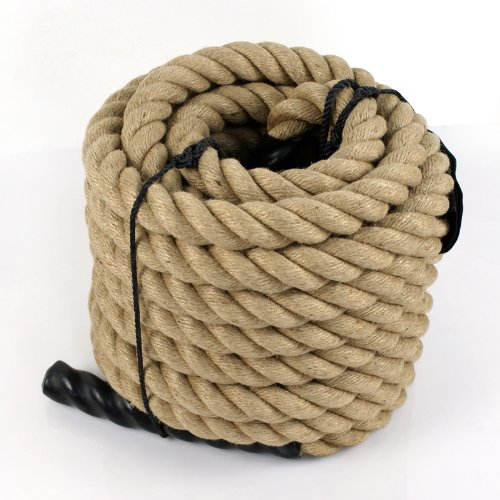 "HomGarden 1.5"" X 50 FT Manila Rope Twisted Cordage Boat Docks Tree Crafts Climbing Exercise Undulation Workout Jump Battle Ropes"