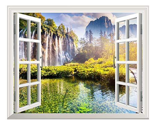 Removable Wall Sticker Wall Mural Waterfall and Mountain afar Out of The Open Window Creative Wall Decor